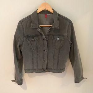 Washed Black Cropped Denim Jacket